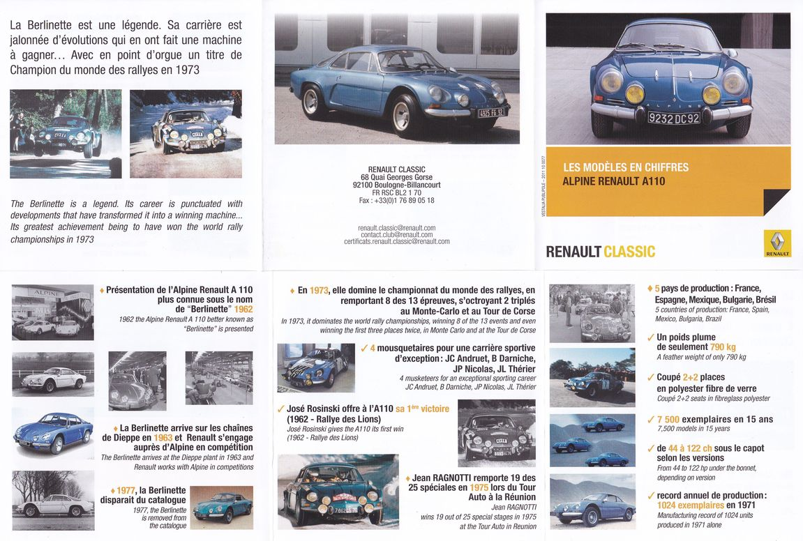 alpine renault a110 france pub la saga de la berlinette publicit alpine renault france. Black Bedroom Furniture Sets. Home Design Ideas